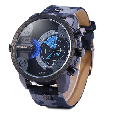 Shiweibao 3131 Digital Camouflage Leather Band Male Quartz Watch with Dual MovtMens Watches<br>Shiweibao 3131 Digital Camouflage Leather Band Male Quartz Watch with Dual Movt<br><br>Brand: Shiweibao<br>Watches categories: Male table<br>Watch style: Fashion<br>Available color: Blue, Red, White, Yellow<br>Movement type: Quartz watch<br>Shape of the dial: Round<br>Display type: Analog<br>Case material: Stainless steel<br>Band material: Leather<br>Clasp type: Pin buckle<br>The dial thickness: 1.4 cm / 0.55 inches<br>The dial diameter: 5.0 cm / 1.97 inches<br>The band width: 2.4 cm / 0.94 inches<br>Wearable Length:: 20.2 - 24.8 cm / 7.95 - 9.76 inches<br>Product weight: 0.084 kg<br>Package weight: 0.134 kg<br>Product size (L x W x H): 26.7 x 5 x 1.4 cm / 10.49 x 1.97 x 0.55 inches<br>Package size (L x W x H): 27.7 x 6 x 2.4 cm / 10.89 x 2.36 x 0.94 inches<br>Package Contents: 1 x Shiweibao 3131 Watch