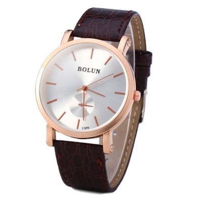 ФОТО Bolun C1070 Unisex Quartz Watch with Embossed Leather Band