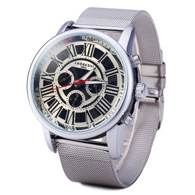 ФОТО Laogeshi 398A Men Automatic Mechanical Watch with Date Day Steel Net Band