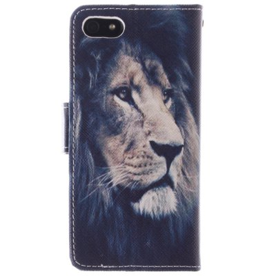 Гаджет   Lion Face Cover Case PU and TPU with Stand for iPhone 5 / 5S
