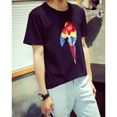 Гаджет   Refreshing Round Neck Animal Parrot Embroidered Short Sleeves Men