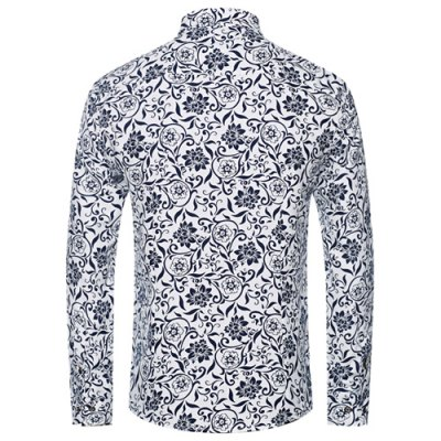 Slimming Fashionable Flower and Leaf Print Men