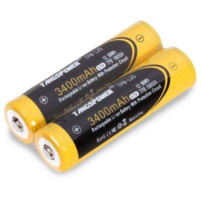 2PCS TangsPower 3400mAh 3.7V 18650 Protected Lithium-ion Battery for LED Flashlight