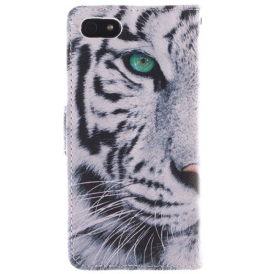 ФОТО White Tiger Pattern Cover Case PU and TPU with Stand for iPhone 5 / 5S