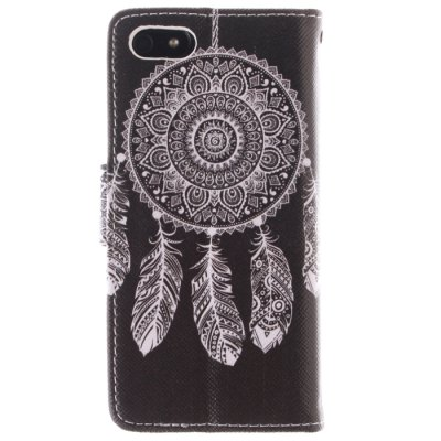 Black Dreamcatcher Pattern Cover Case PU and TPU with Stand for iPhone 5 / 5S