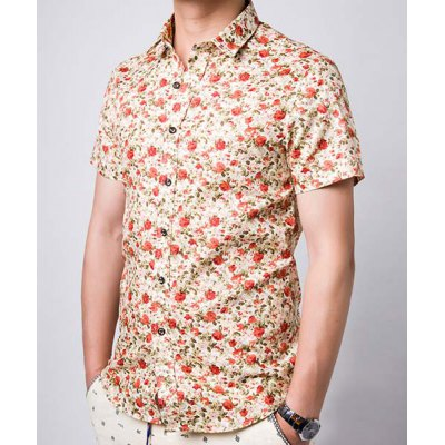 Гаджет   Slimming Stylish Turn-Down Collar Tiny Floral Print Short Sleeve Men