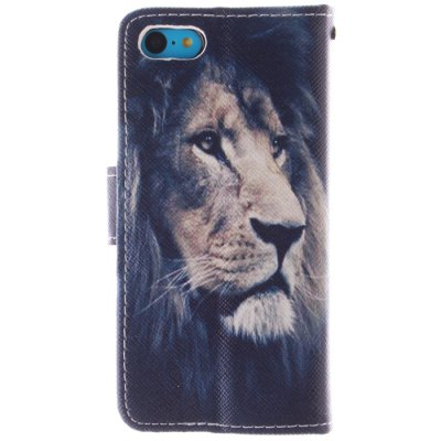 ФОТО Lion Face Pattern Cover Case PU and TPU with Stand for iPhone 5C