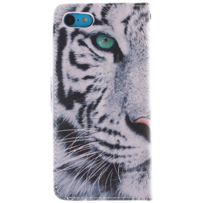 ФОТО Tiger Head Pattern Cover Case PU and TPU with Stand for iPhone 5C
