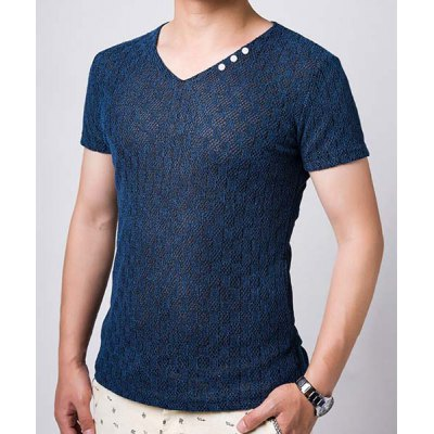 Pierced Button Embellished Mens V-Neck Short Sleeve Cotton+Linen T-ShirtMens Short Sleeve Tees<br>Pierced Button Embellished Mens V-Neck Short Sleeve Cotton+Linen T-Shirt<br><br>Material: Linen, Cotton<br>Sleeve Length: Short<br>Collar: V-Neck<br>Style: Fashion<br>Weight: 0.256KG<br>Package Contents: 1 x T-Shirt<br>Embellishment: Button<br>Pattern Type: Solid
