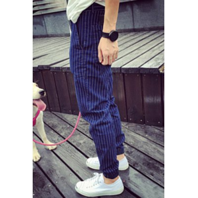 Гаджет   Trendy Narrow Feet Zipper Fly Stripes Print PU Leather Design Men