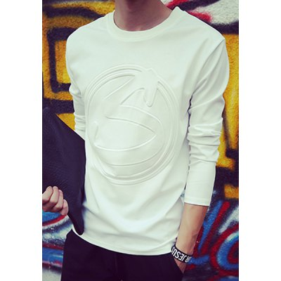 Гаджет   Slimming Stylish Round Neck 3D Letter Geometric Print Long Sleeve Men