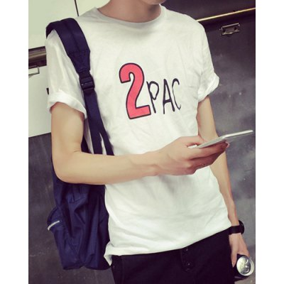 Гаджет   Simple Style Round Neck Funny Letters Cartoon Print Fitted Short Sleeves Men