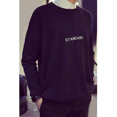 Гаджет   Fashion Round Neck Letter Embroidered Loose Fit Long Sleeve Polyester Sweater For Men Sweaters & Cardigans