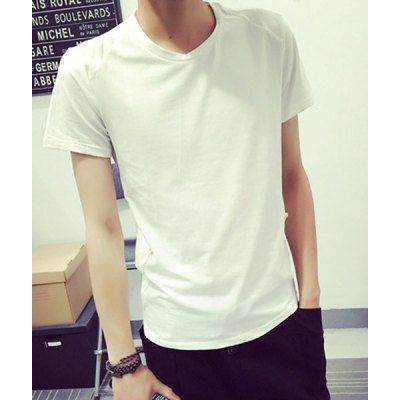 Гаджет   Simple Round Neck Spliced and Button Design Short Sleeves Slim Fit Men