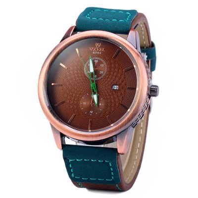 Гаджет   Valia 8279 - 2 Male Contrast Color Leather Band Quartz Watch with Date Function Men