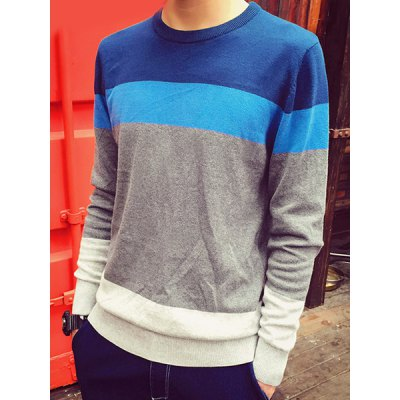 Fashion Round Neck Multicolor Splicing Slimming Long Sleeve Cotton Blend Sweater For Men