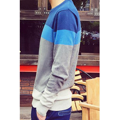 Фотография Fashion Round Neck Multicolor Splicing Slimming Long Sleeve Cotton Blend Sweater For Men