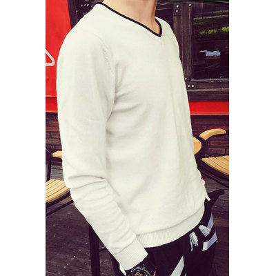 Trendy V-Neck Color Block Edging Slimming Long Sleeve Cotton Blend Sweater For Men