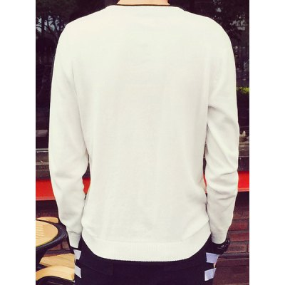 Фотография Trendy V-Neck Color Block Edging Slimming Long Sleeve Cotton Blend Sweater For Men