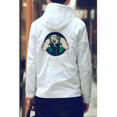 Гаджет   Slimming Hooded Letters Embroidered Funny Cartoon Popeye Applique Long Sleeves Men