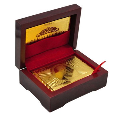 Гаджет   USD Dollar Designed Poker Gold-Foil Plated Playing Cards with Red Wood Box - 54Pcs Puzzle & Educational