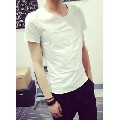 Гаджет   Fashion Round Neck Solid Color Patched Splicing Slimming Short Sleeve Cotton Blend T-Shirt For Men T-Shirts