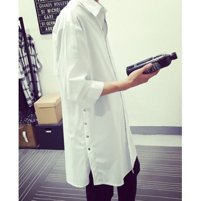 Fashion Shirt Collar Letter Print Splicing Design Loose Fit Three-Quarter Sleeve Cotton Blend Shirt For Men