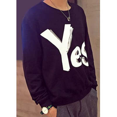 Laconic Round Neck Slimming 3D Letters Pattern Long Sleeves Men