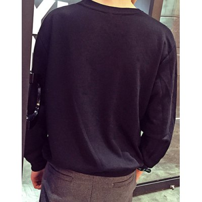 Фотография Laconic Round Neck Slimming 3D Letters Pattern Long Sleeves Men