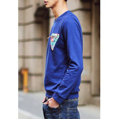 Гаджет   Fashion Round Neck Floral Triangle Applique Long Sleeves Men