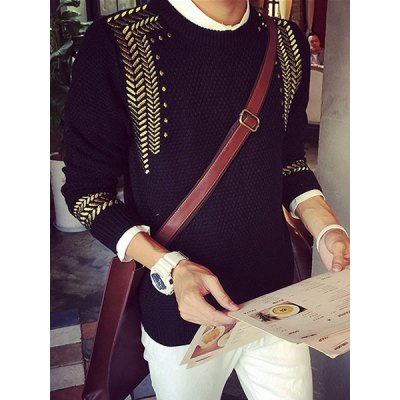 Фотография Trendy Round Neck Herringbone Embroidered Slimming Long Sleeve Polyester Sweater For Men