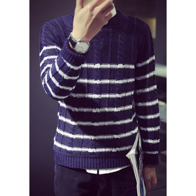 Trendy Round Neck Color Block Stripe Jacquard Slimming Long Sleeve Polyester Sweater For Men