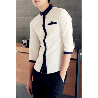 Button Embellished Color Block Splicing Stand Collar Men
