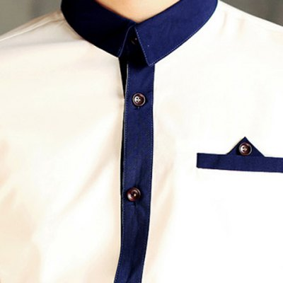 Фотография Button Embellished Color Block Splicing Stand Collar Men