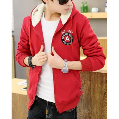 Trendy Hooded Letter Embroidered Velour Lined Slimming Long Sleeve Cotton Blend Hoodie For Men