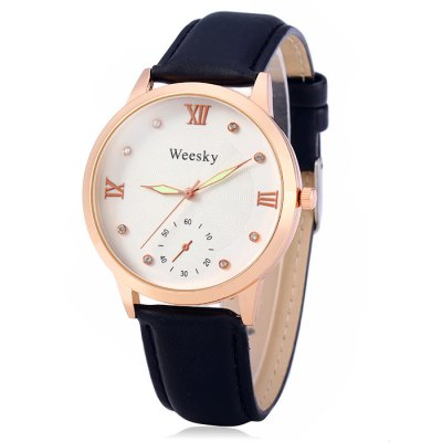 Weesky Female Quartz WatchWomens Watches<br>Weesky Female Quartz Watch<br><br>Brand: Weesky<br>Watches categories: Female table<br>Available color: Black, White, Red, Brown<br>Style : Fashion&amp;Casual<br>Movement type: Quartz watch<br>Shape of the dial: Round<br>Display type: Analog<br>Case material: Alloy<br>Band material: Leather<br>Clasp type: Pin buckle<br>Special features: Decorating small sub-dials<br>The dial thickness: 1.0 cm / 0.39 inches<br>The dial diameter: 4.0 cm / 1.57 inches<br>The band width: 2.0 cm / 0.79 inches<br>Wearable Length:: 19 - 23 cm / 7.48 - 9.06 inches<br>Product weight: 0.038 kg<br>Package weight: 0.088 kg<br>Product size (L x W x H) : 25 x 4 x 1 cm / 9.83 x 1.57 x 0.39 inches<br>Package size (L x W x H): 26 x 5 x 2 cm / 10.22 x 1.97 x 0.79 inches<br>Package contents: 1 x Weesky Watch