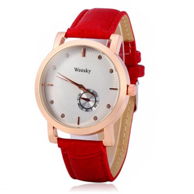 ФОТО Weesky Female Diamond Quartz Watch with Leather Band