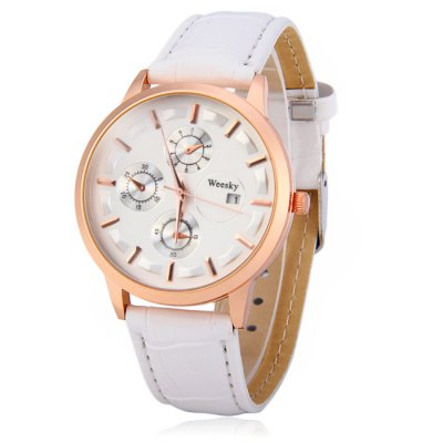 Weesky Women Quartz WatchWomens Watches<br>Weesky Women Quartz Watch<br><br>Brand: Weide<br>People: Women<br>Watch style: Fashion<br>Available color: Red, White, Black, Brown<br>Shape of the dial: Round<br>Movement type: Quartz watch<br>Display type: Analog<br>Case material: Alloys<br>Case color: Gold<br>Band material: Leather<br>Clasp type: Pin buckle<br>The dial thickness: 1.0 cm / 0.30 inches<br>The dial diameter: 4.1 cm / 1.61 inches<br>The band width: 1.8 cm / 0.54 inches<br>Wearable Length:: 18.2 cm - 21.2 cm / 5.46 - 6.36 inches<br>Product weight: 0.037 kg<br>Package weight: 0.087 kg<br>Product size (L x W x H) : 24.2 x 4.1 x 1.0 cm / 9.51 x 1.61 x 0.39 inches<br>Package size (L x W x H): 25.2 x 5.1 x 2.0 cm / 9.90 x 2.00 x 0.79 inches<br>Package contents: 1 x Weesky Watch