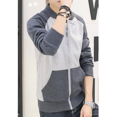 Stylish Stand Collar Color Block Splicing Slimming Long Sleeve Cotton Blend Sweatshirt For Men