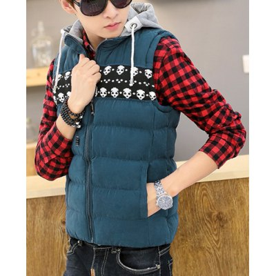 Гаджет   Fashion Hooded Detachable Skull Jacquard Splicing Slimming Sleeveless Thicken Cotton Blend Waistcoat For Men Waistcoats