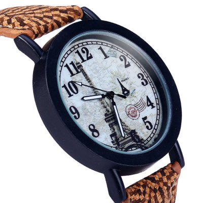 Weesky Couple Eiffel Tower Quartz Watch with Leather Band