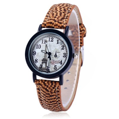 Weesky Female Eiffel Tower Quartz Watch with Leather Band