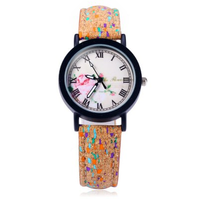Гаджет   Weesky Retro Female Quartz Watch with Flower Dial Leather Strap Women