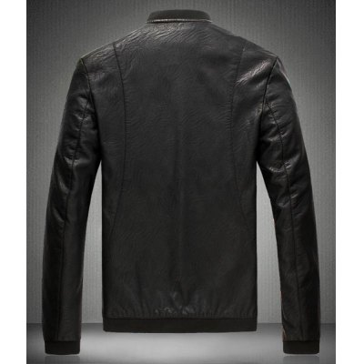 Vogue Stand Collar Zipper Design Rib Splicing Slimming Long Sleeve PU Leather Jacket For Men