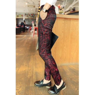 Гаджет   Nightclub Narrow Feet Zipper Fly Abstract Print Color Block Slimming Men