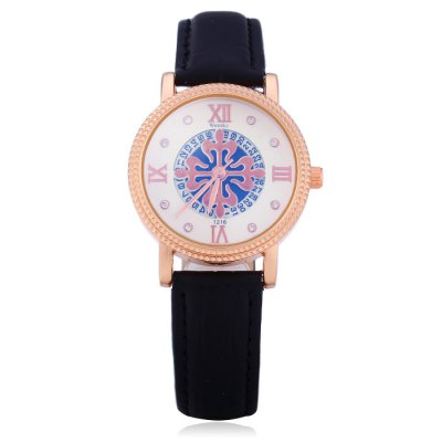 Weesky 1216L Female Diamond Quartz Watch with Date Function Flower Dial