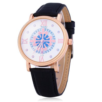 Weesky 1216G Male Diamond Quartz Watch with Date Function Flower Dial