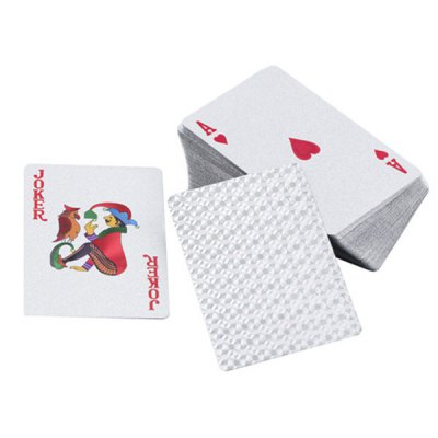 ФОТО Silver Foil Printing Poker Water Resistance Playing Cards with Red Wood Box