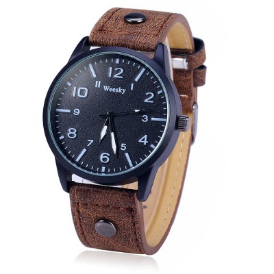 Weesky 1203G Male Quartz Watch with Leather BandMens Watches<br>Weesky 1203G Male Quartz Watch with Leather Band<br><br>Brand: Weesky<br>Watches categories: Male table<br>Watch style: Fashion<br>Available color: Black, Red, Blue, Brown<br>Movement type: Quartz watch<br>Shape of the dial: Round<br>Display type: Analog<br>Case material: Stainless steel<br>Band material: Leather<br>Clasp type: Pin buckle<br>The dial thickness: 0.9 cm / 0.35 inches<br>The dial diameter: 4.0 cm / 1.57 inches<br>The band width: 2.0 cm / 0.79 inches<br>Wearable Length:: 17.5 - 22 cm / 6.89 - 8.66 inches<br>Product weight: 0.037 kg<br>Package weight: 0.087 kg<br>Product size (L x W x H): 25 x 4.0 x 0.9 cm / 9.83 x 1.57 x 0.35 inches<br>Package size (L x W x H): 26 x 5.0 x 1.9 cm / 10.22 x 1.97 x 0.75 inches<br>Package Contents: 1 x Weeshy 1203G Watch
