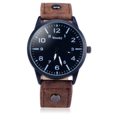 Weesky 1203G Male Quartz Watch with Leather Band